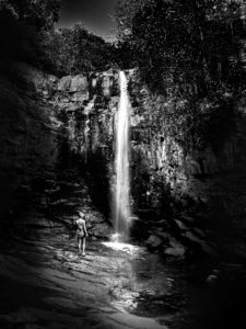 Georgia, waterfall black and white